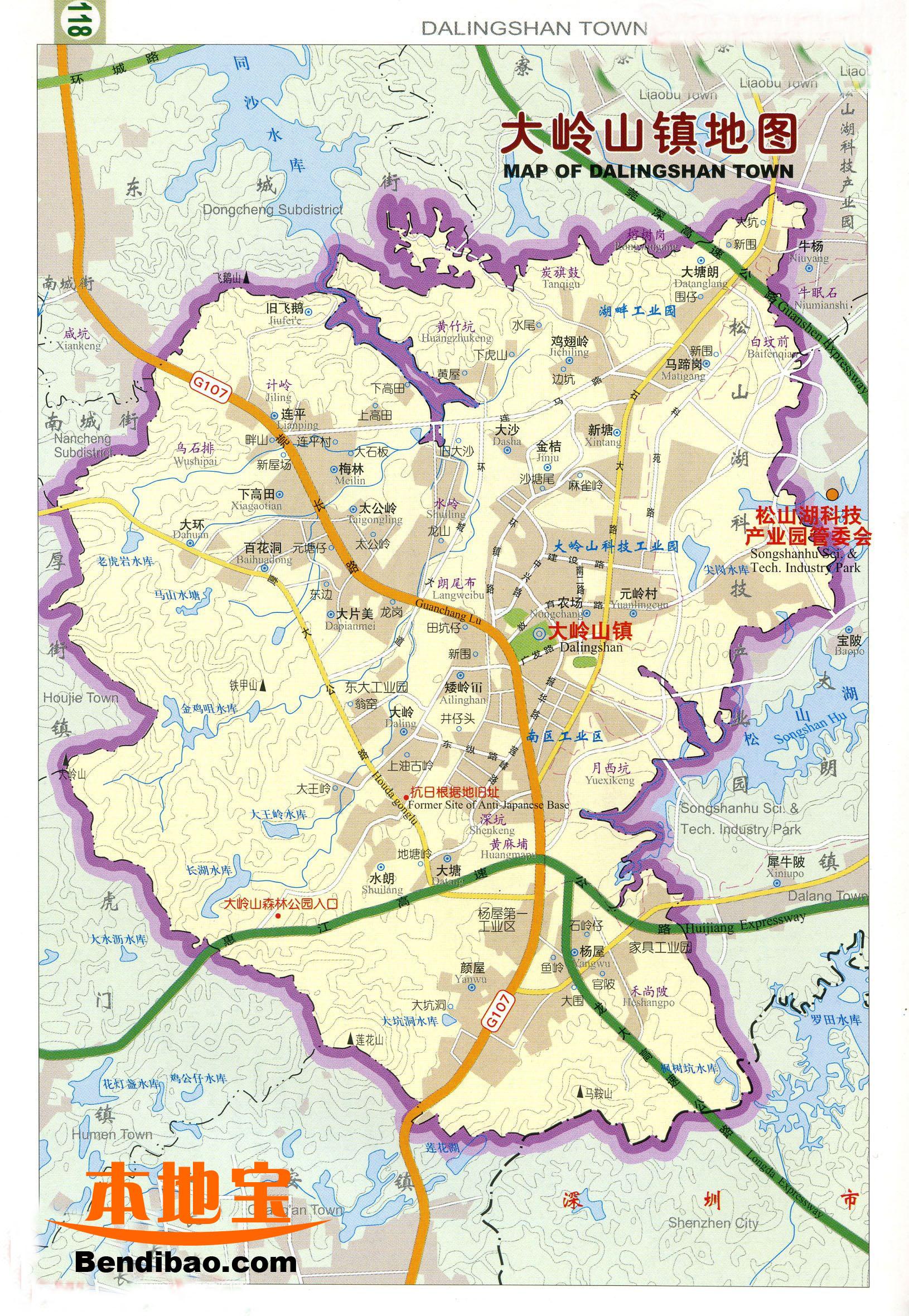 东莞大岭山地图_广东省东莞市大岭山镇地图