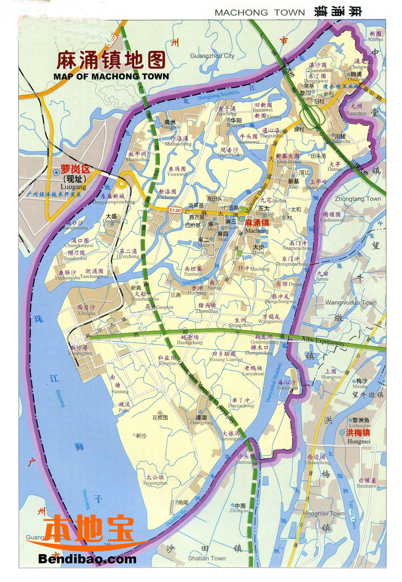 东莞麻涌 地图_广东省东莞市麻涌镇地图